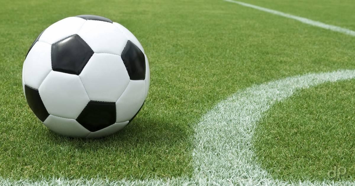 Pallone calcio su erba