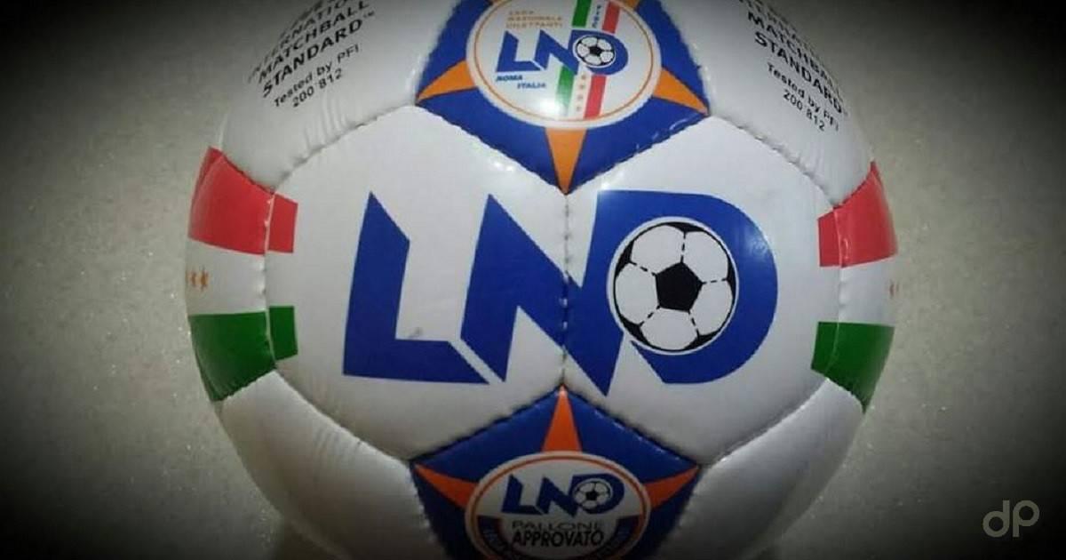 Primo piano di un pallone da calcio Lnd