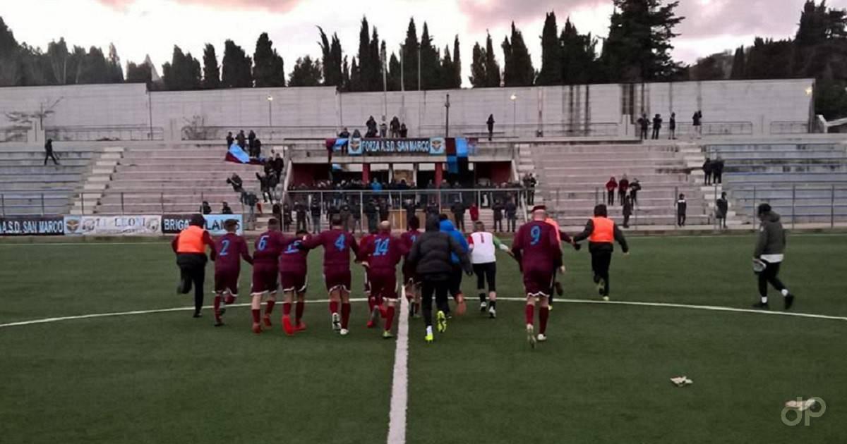 L'esultanza del San Marco dopo la partita con la Nuova Spinazzola