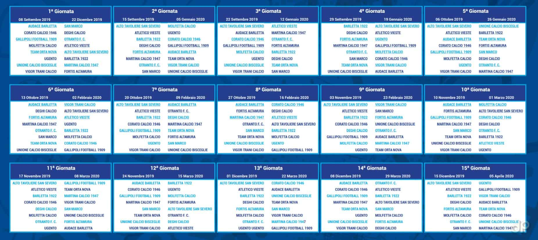 Calendario Eccellenza.Calendario Eccellenza Pugliese 2019 20