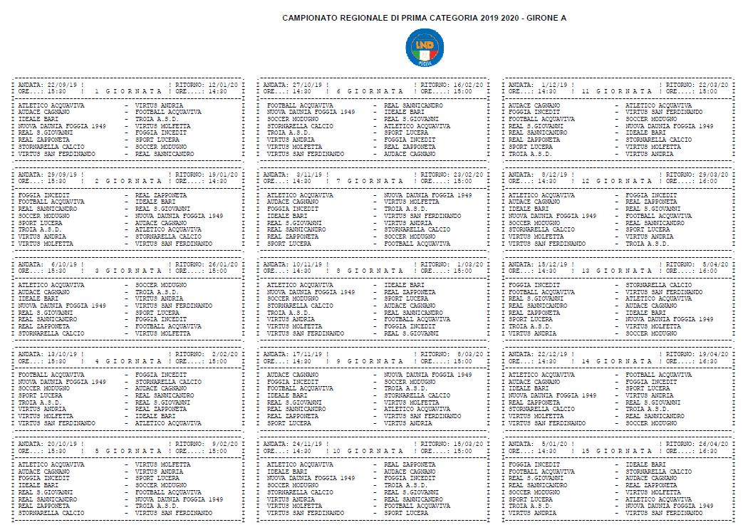 Calendario Prima Categoria pugliese girone A 2019-20
