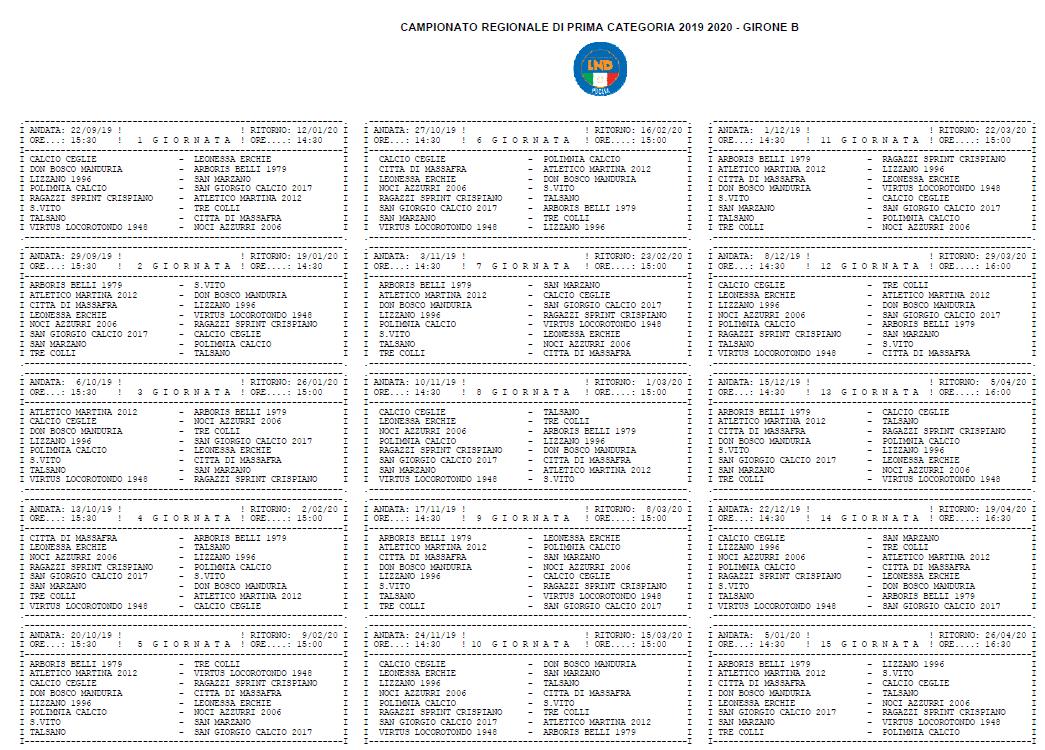 Lega Pro Calendario Girone B.Prima Categoria Pugliese Girone B Il Calendario Completo