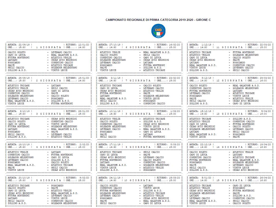Calendario Eccellenza Pugliese.Prima Categoria Pugliese Girone C Il Calendario Completo