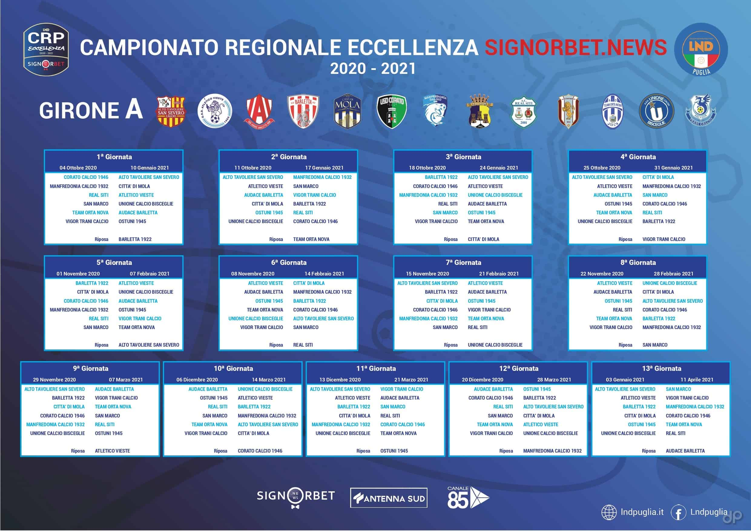 Calendario Eccellenza 2021 Eccellenza pugliese, il calendario completo del girone A 2020/21