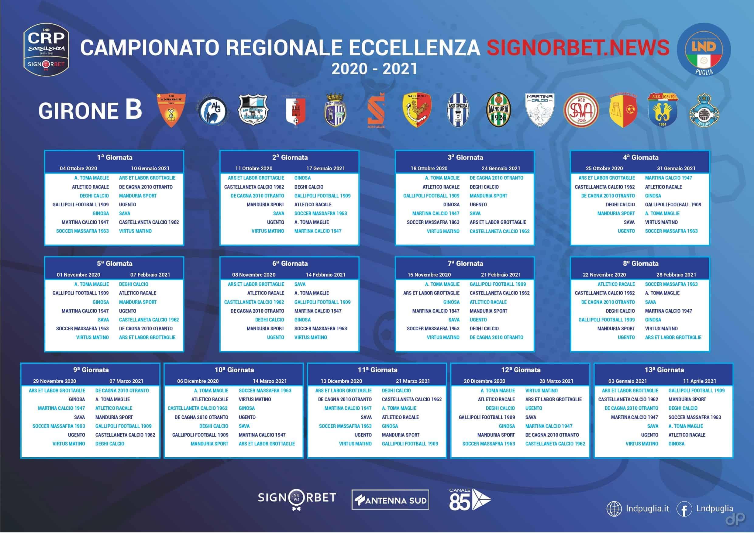 Calendario Eccellenza 2021 Eccellenza pugliese, il calendario completo del girone B 2020/21