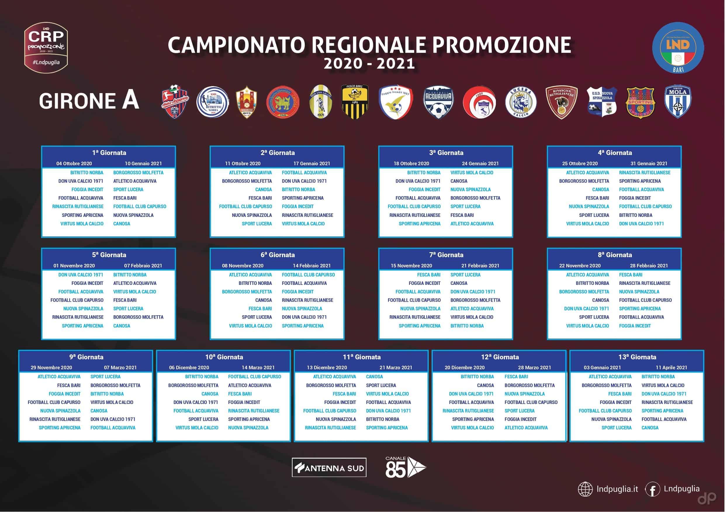 Calendario Promozione pugliese girone A 2020-21