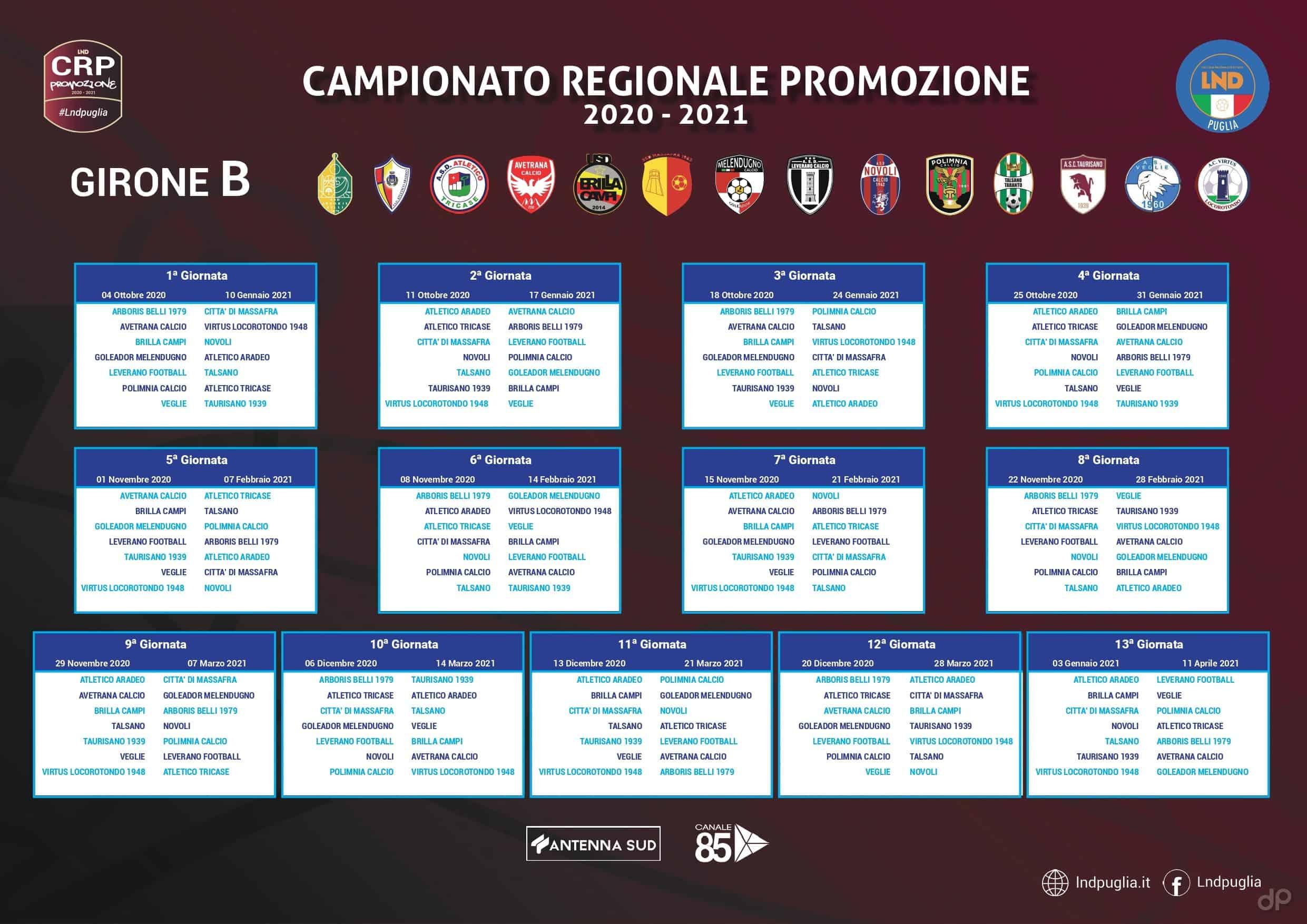 Calendario Promozione pugliese girone B 2020-21