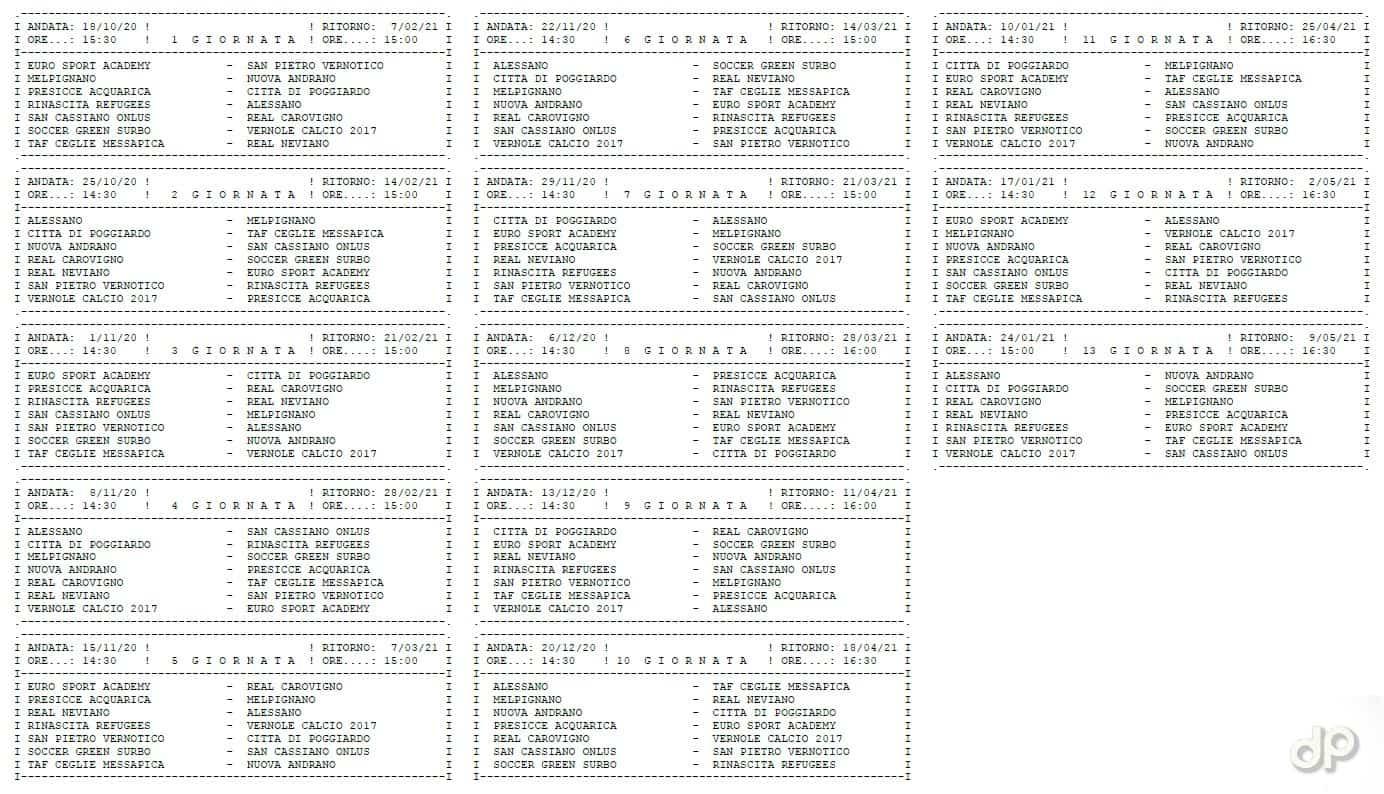 Calendario Seconda Categoria pugliese girone B 2020-21