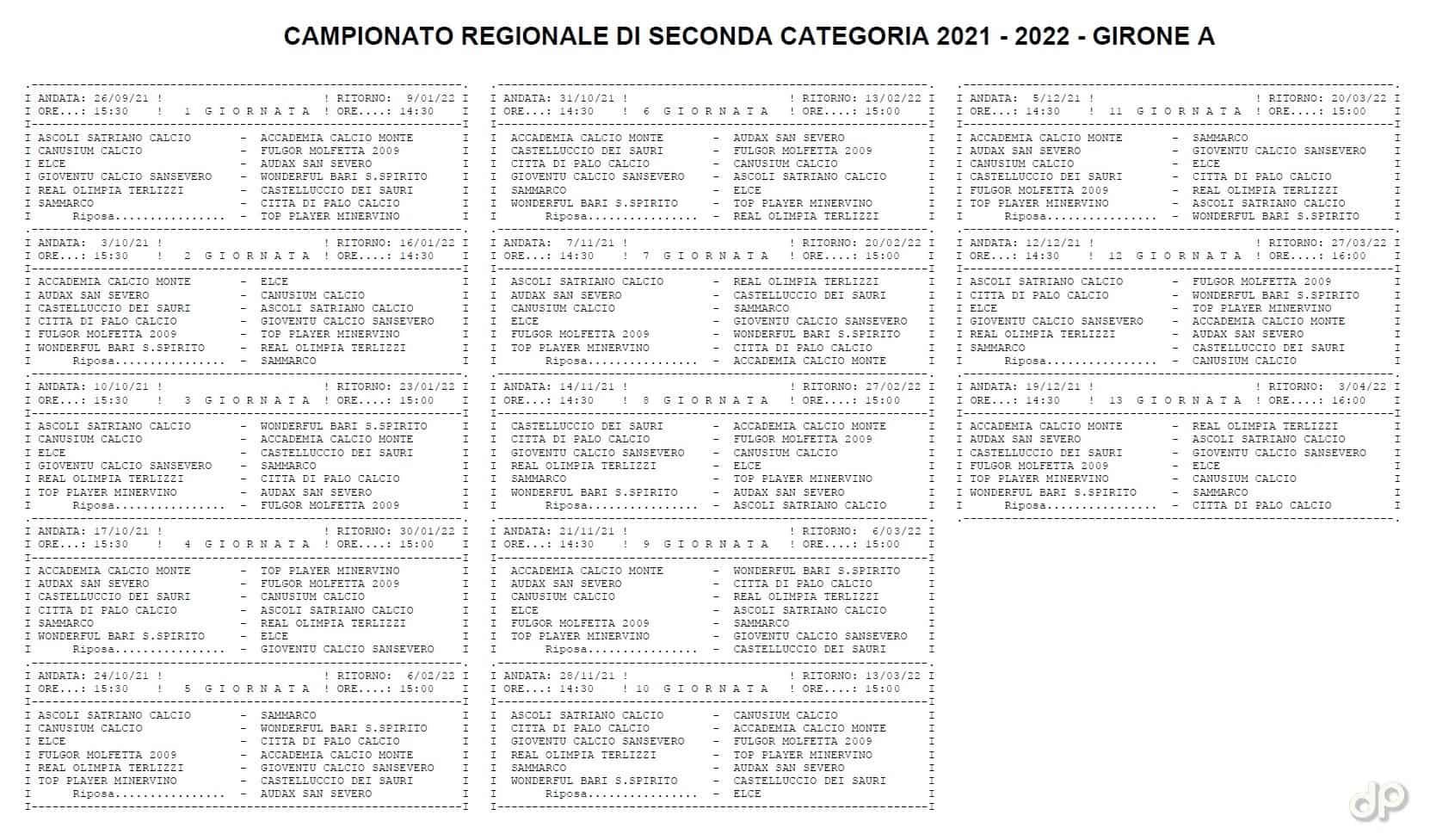 Calendario Seconda Categoria pugliese girone A 2021-22