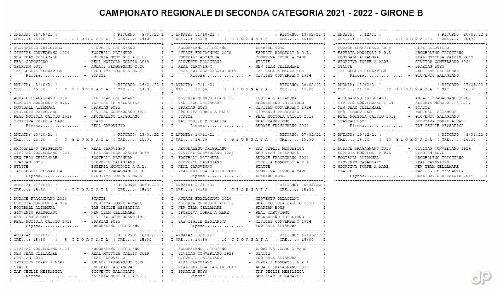 Calendario Seconda Categoria pugliese girone B 2021-22