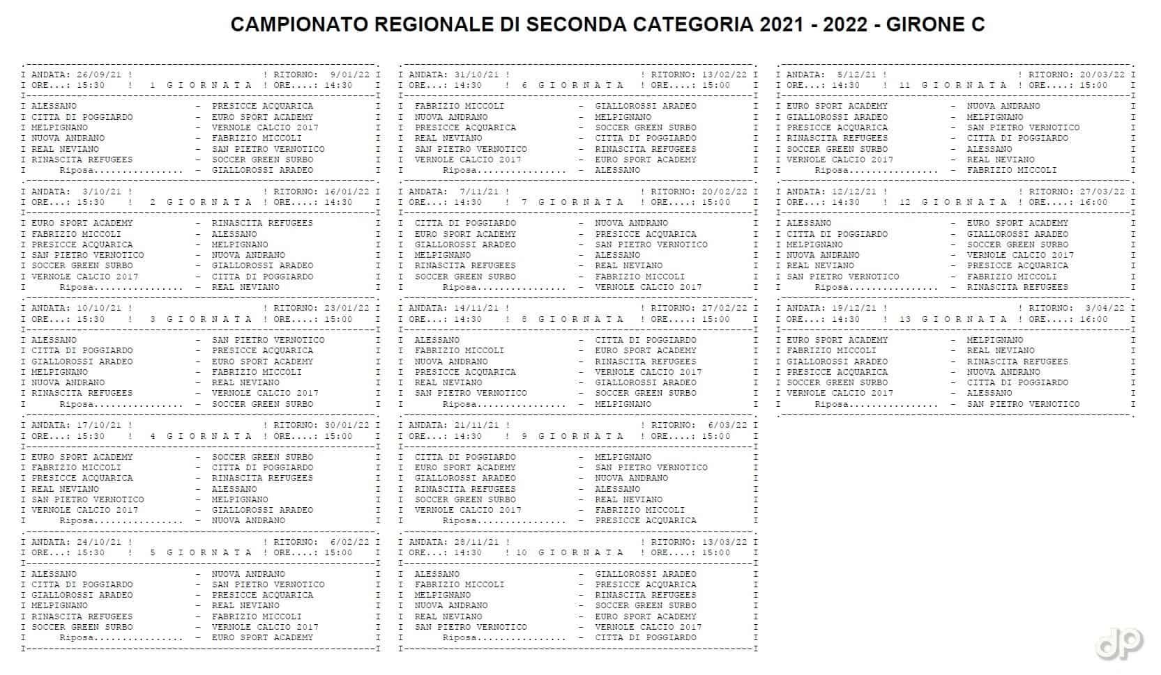Calendario Seconda Categoria pugliese girone C 2021-22