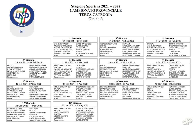 Calendario Terza Categoria Bari 2021-22