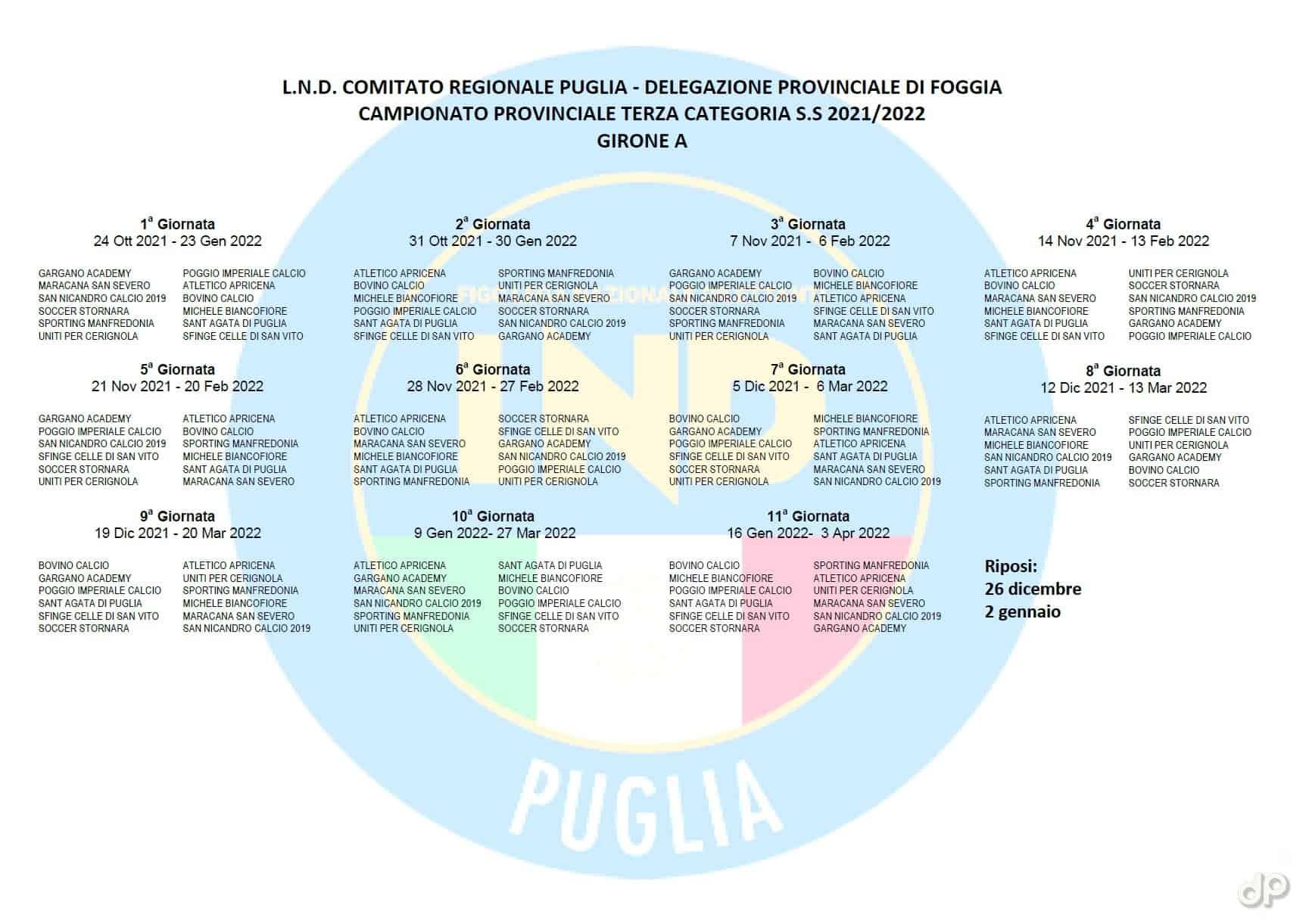Calendario Terza Categoria Foggia 2021-22